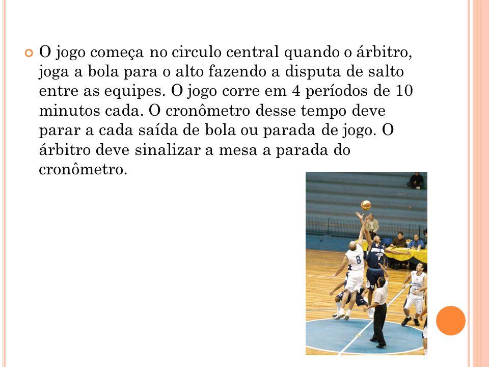 O jogo começa no circulo central quando o árbitro, joga a bola para o alto fazendo a disputa de salto entre as equipes. O jogo corre em 4 períodos de