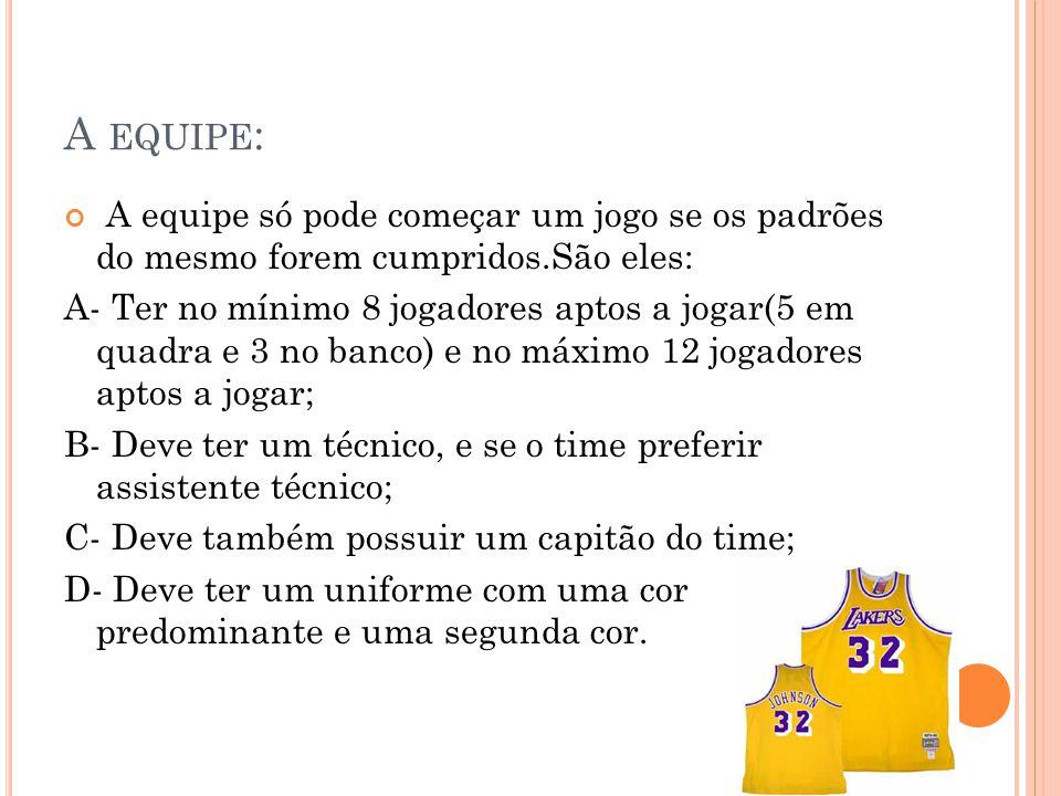 A EQUIPE : A equipe só pode começar um jogo se os padrões do mesmo forem cumpridos.São eles: A- Ter no mínimo 8 jogadores aptos a jogar(5 em quadra e