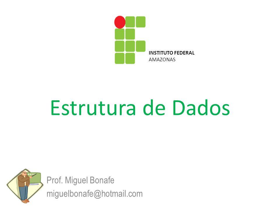 Estrutura de Dados Prof. Miguel Bonafe miguelbonafe@hotmail.com INSTITUTO FEDERAL AMAZONAS