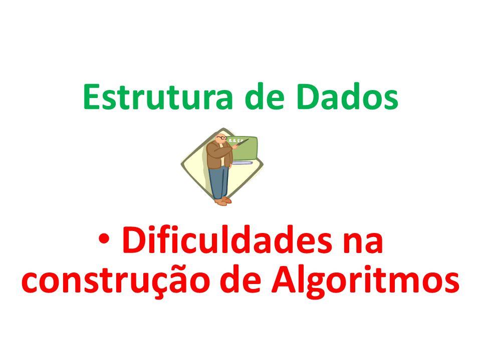Dificuldades na construção de Algoritmos Estrutura de Dados