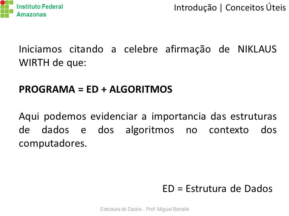 Estrutura de Dados - Prof.Miguel Bonafe Instituto Federal Amazonas Exercícios | Tipos 3.