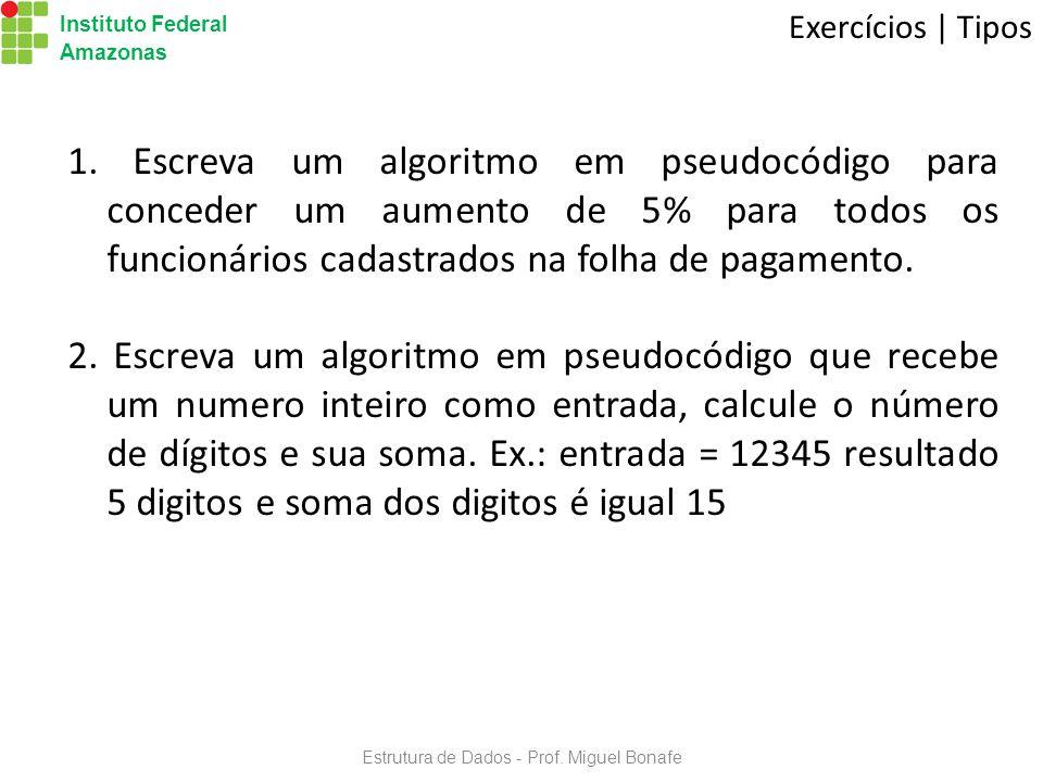 Estrutura de Dados - Prof.Miguel Bonafe Instituto Federal Amazonas Exercícios | Tipos 1.