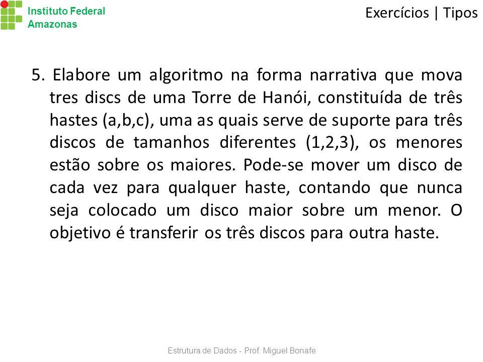 Estrutura de Dados - Prof.Miguel Bonafe Instituto Federal Amazonas Exercícios | Tipos 5.