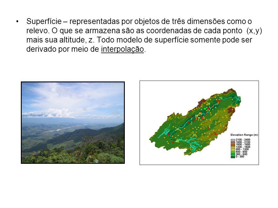 Superfície – representadas por objetos de três dimensões como o relevo.