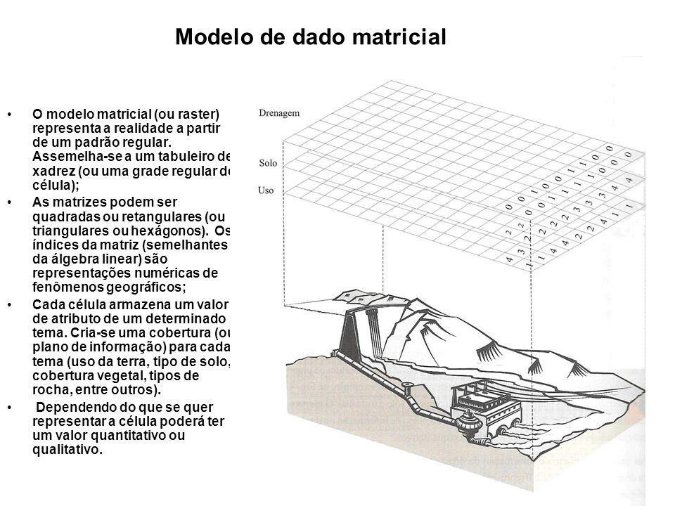 O modelo matricial (ou raster) representa a realidade a partir de um padrão regular.
