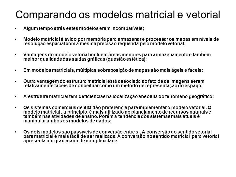 Comparando os modelos matricial e vetorial Algum tempo atrás estes modelos eram incompatíveis; Modelo matricial é ávido por memória para armazenar e processar os mapas em níveis de resolução espacial com a mesma precisão requerida pelo modelo vetorial; Vantagens do modelo vetorial incluem áreas menores para armazenamento e também melhor qualidade das saídas gráficas (questão estética); Em modelos matriciais, múltiplas sobreposição de mapas são mais ágeis e fáceis; Outra vantagem do estrutura matricial está associada ao fato de as imagens serem relativamente fáceis de conceituar como um método de representação do espaço; A estrutura matricial tem deficiências na localização absoluta do fenômeno geográfico; Os sistemas comerciais de SIG dão preferência para implementar o modelo vetorial.