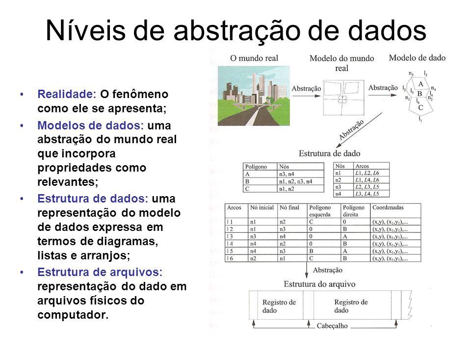Níveis de abstração de dados Realidade: O fenômeno como ele se apresenta; Modelos de dados: uma abstração do mundo real que incorpora propriedades como relevantes; Estrutura de dados: uma representação do modelo de dados expressa em termos de diagramas, listas e arranjos; Estrutura de arquivos: representação do dado em arquivos físicos do computador.