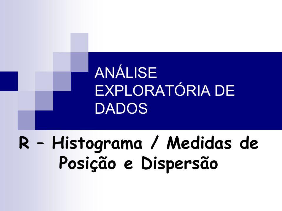 ANÁLISE EXPLORATÓRIA DE DADOS R – Histograma / Medidas de Posição e Dispersão
