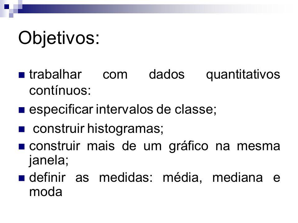 Objetivos: trabalhar com dados quantitativos contínuos: especificar intervalos de classe; construir histogramas; construir mais de um gráfico na mesma
