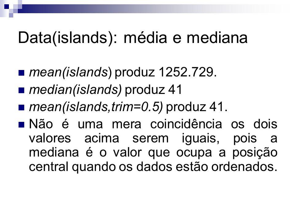Data(islands): média e mediana mean(islands) produz 1252.729. median(islands) produz 41 mean(islands,trim=0.5) produz 41. Não é uma mera coincidência