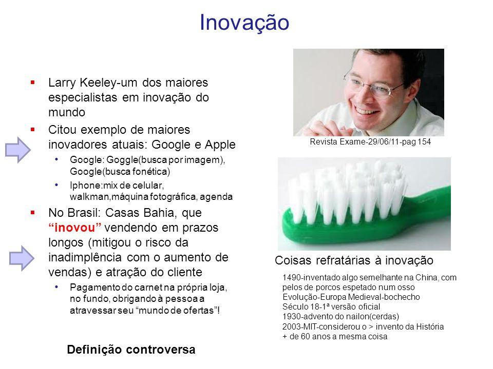 Inovação  Larry Keeley-um dos maiores especialistas em inovação do mundo  Citou exemplo de maiores inovadores atuais: Google e Apple Google: Goggle(
