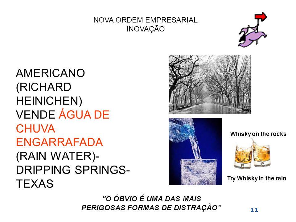 NOVA ORDEM EMPRESARIAL INOVAÇÃO 11 AMERICANO (RICHARD HEINICHEN) VENDE ÁGUA DE CHUVA ENGARRAFADA (RAIN WATER)- DRIPPING SPRINGS- TEXAS Whisky on the r