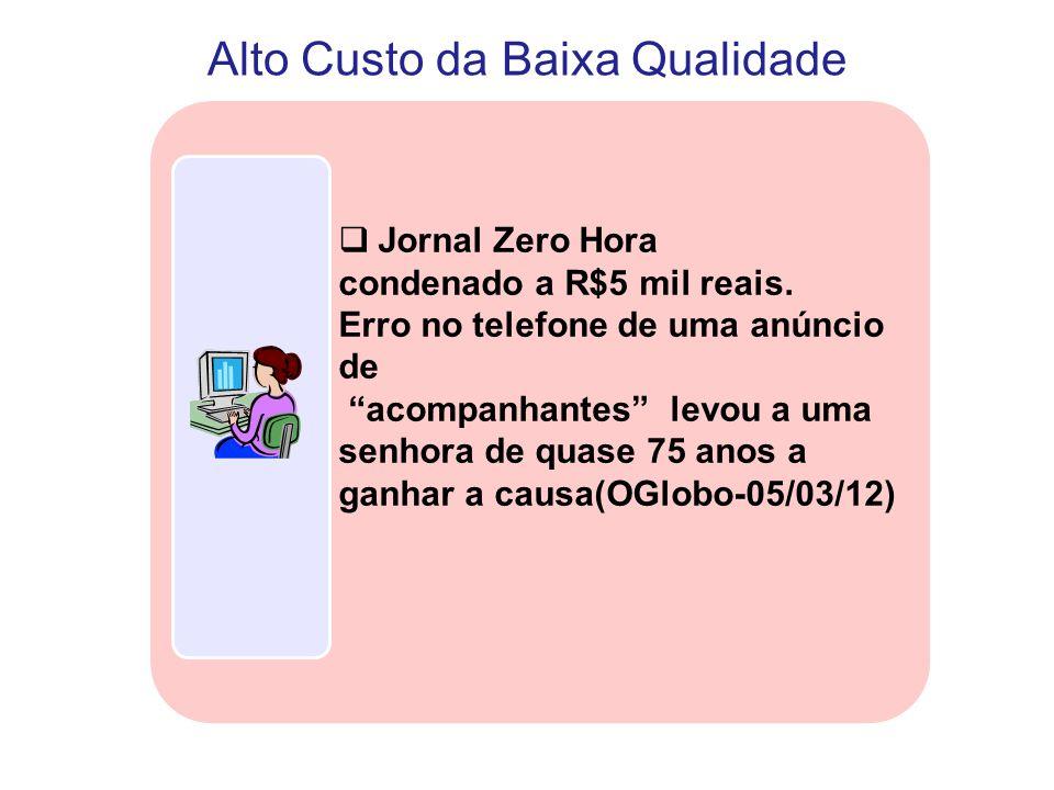 """Alto Custo da Baixa Qualidade  Jornal Zero Hora condenado a R$5 mil reais. Erro no telefone de uma anúncio de """"acompanhantes"""" levou a uma senhora de"""