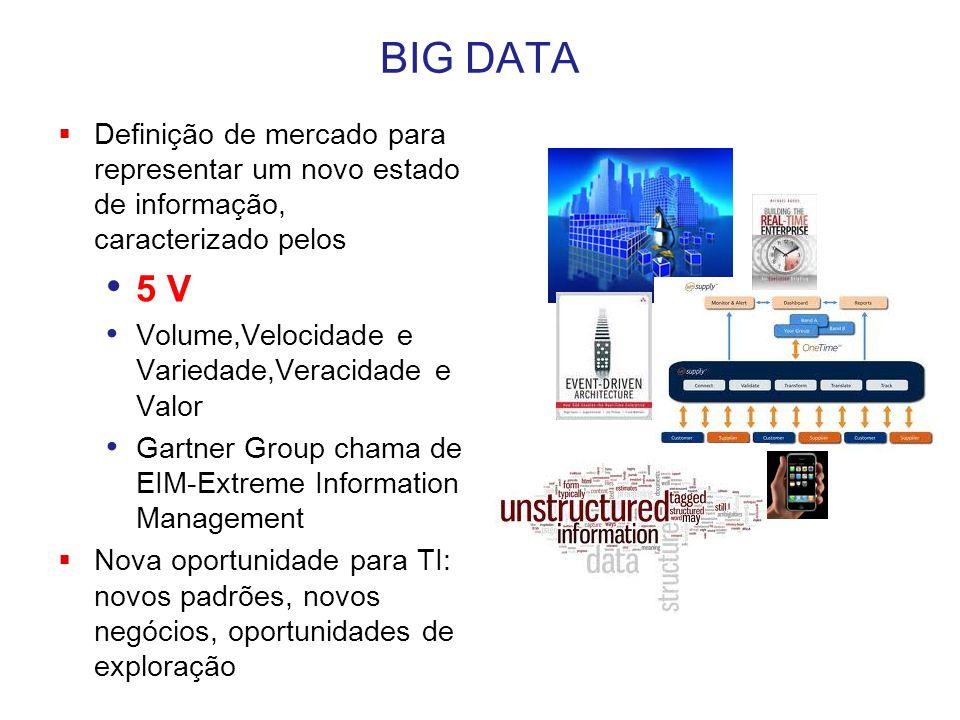 BIG DATA  Definição de mercado para representar um novo estado de informação, caracterizado pelos 5 V Volume,Velocidade e Variedade,Veracidade e Valo