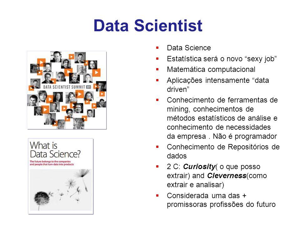 """Data Scientist  Data Science  Estatística será o novo """"sexy job""""  Matemática computacional  Aplicações intensamente """"data driven""""  Conhecimento d"""
