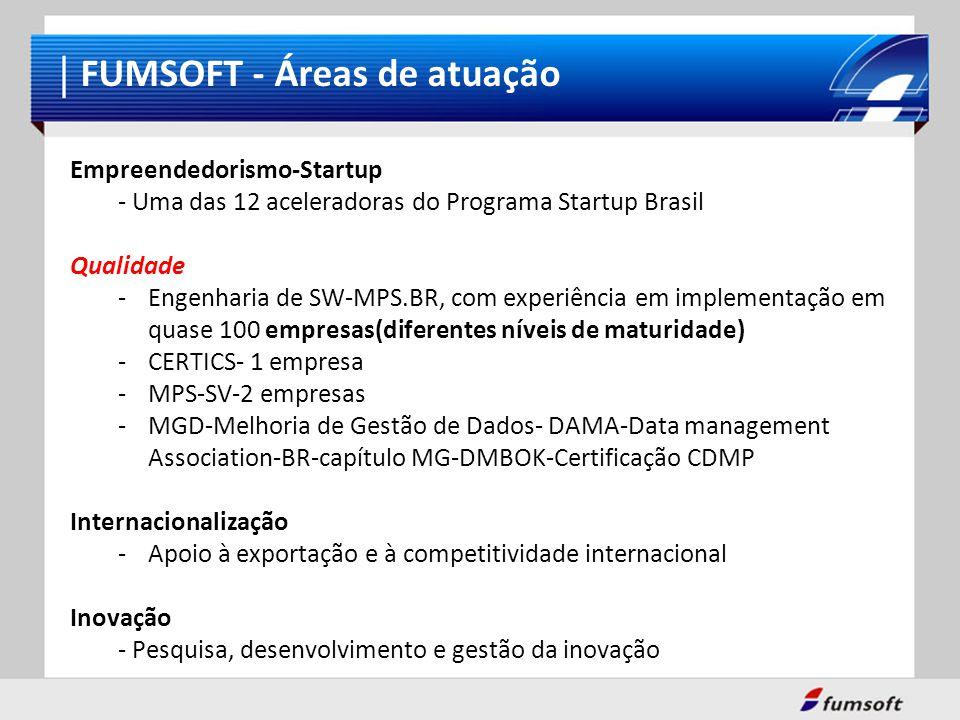 FUMSOFT - Áreas de atuação Empreendedorismo-Startup - Uma das 12 aceleradoras do Programa Startup Brasil Qualidade -Engenharia de SW-MPS.BR, com exper