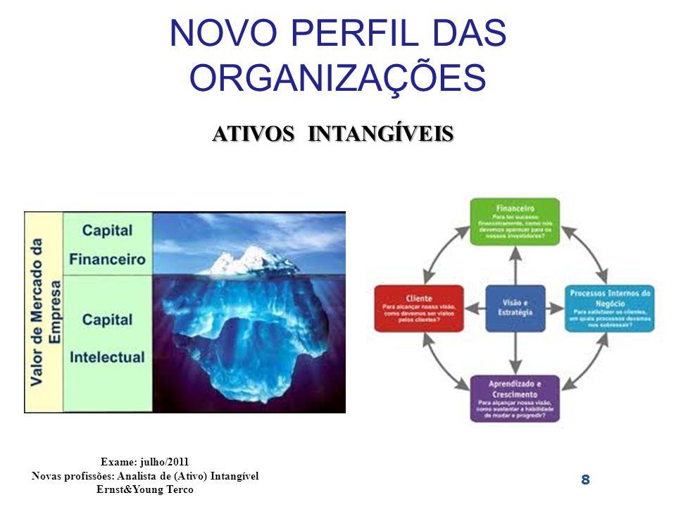 NOVO PERFIL DAS ORGANIZAÇÕES 8 ATIVOS INTANGÍVEIS Exame: julho/2011 Novas profissões: Analista de (Ativo) Intangível Ernst&Young Terco