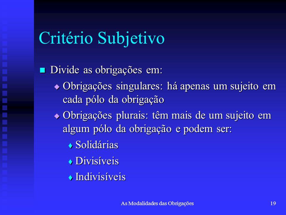 As Modalidades das Obrigações19 Critério Subjetivo Divide as obrigações em: Divide as obrigações em:  Obrigações singulares: há apenas um sujeito em