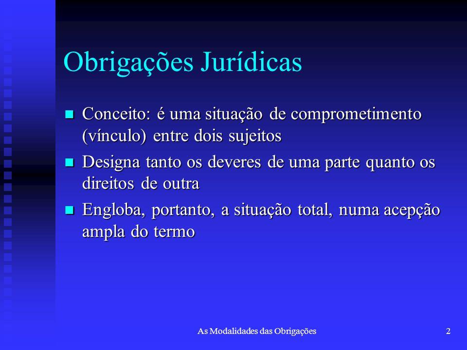 2 Obrigações Jurídicas Conceito: é uma situação de comprometimento (vínculo) entre dois sujeitos Conceito: é uma situação de comprometimento (vínculo)