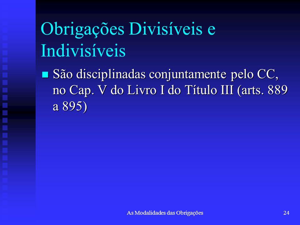 As Modalidades das Obrigações24 Obrigações Divisíveis e Indivisíveis São disciplinadas conjuntamente pelo CC, no Cap. V do Livro I do Título III (arts