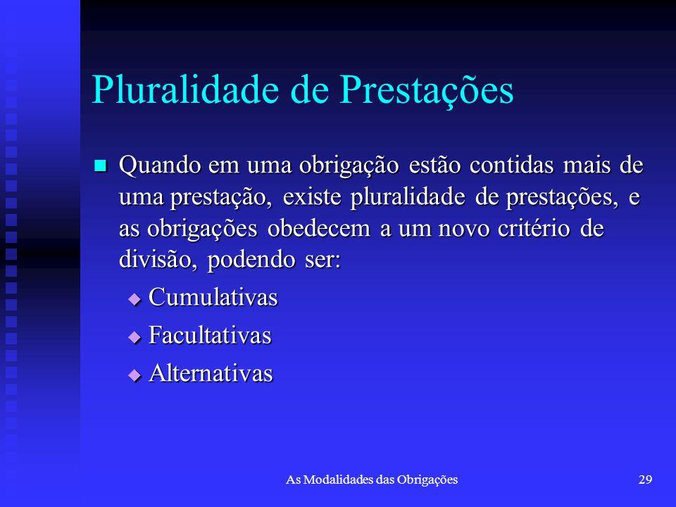 As Modalidades das Obrigações29 Pluralidade de Prestações Quando em uma obrigação estão contidas mais de uma prestação, existe pluralidade de prestaçõ
