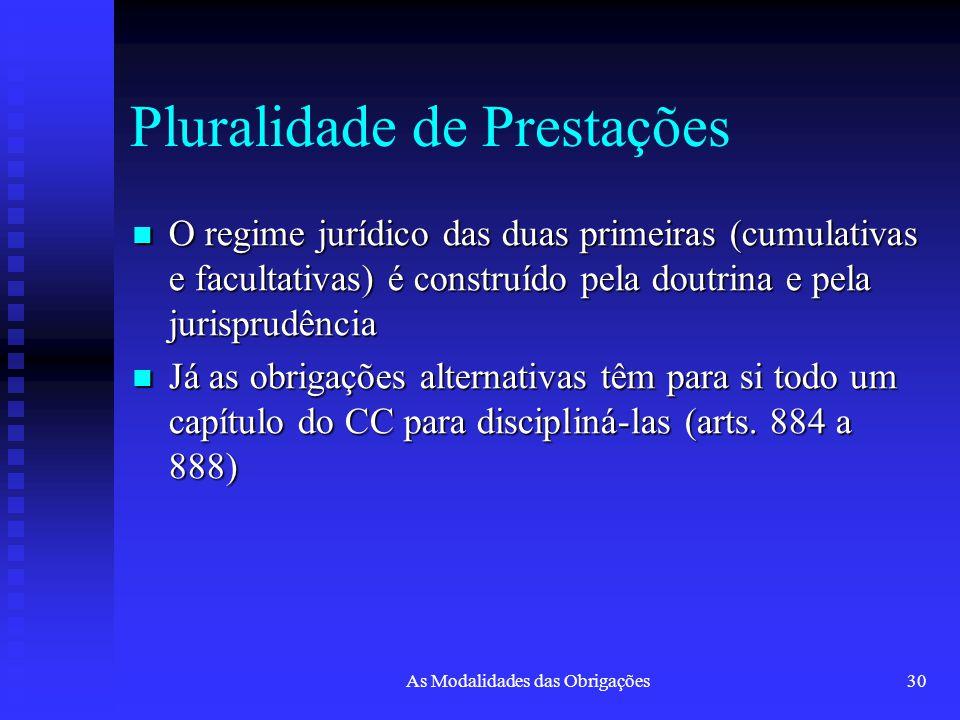 As Modalidades das Obrigações30 Pluralidade de Prestações O regime jurídico das duas primeiras (cumulativas e facultativas) é construído pela doutrina