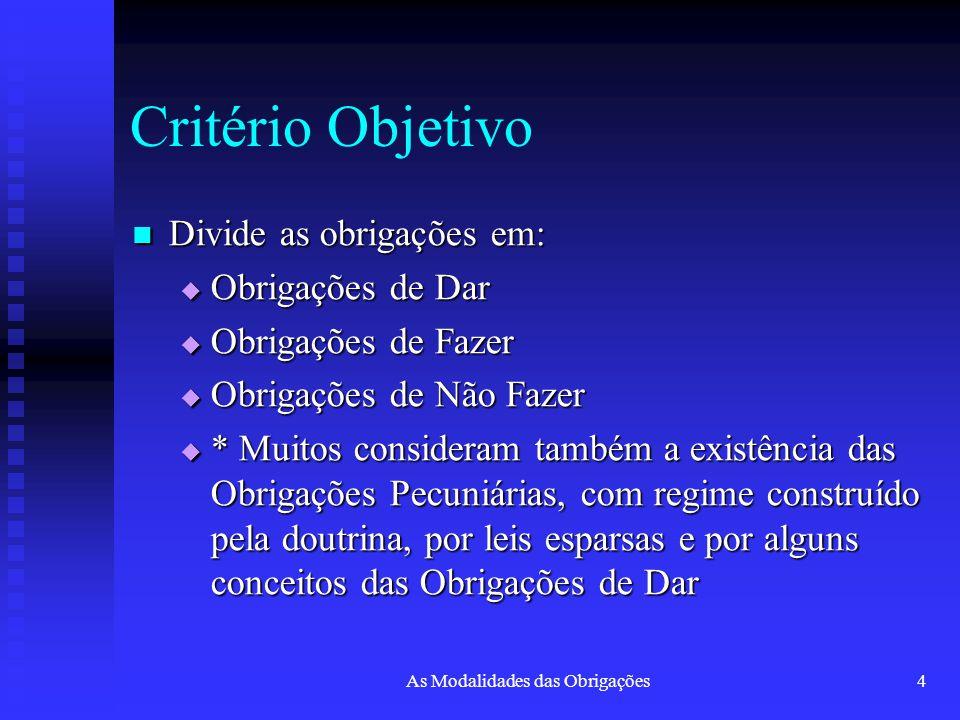 As Modalidades das Obrigações4 Critério Objetivo Divide as obrigações em: Divide as obrigações em:  Obrigações de Dar  Obrigações de Fazer  Obrigaç