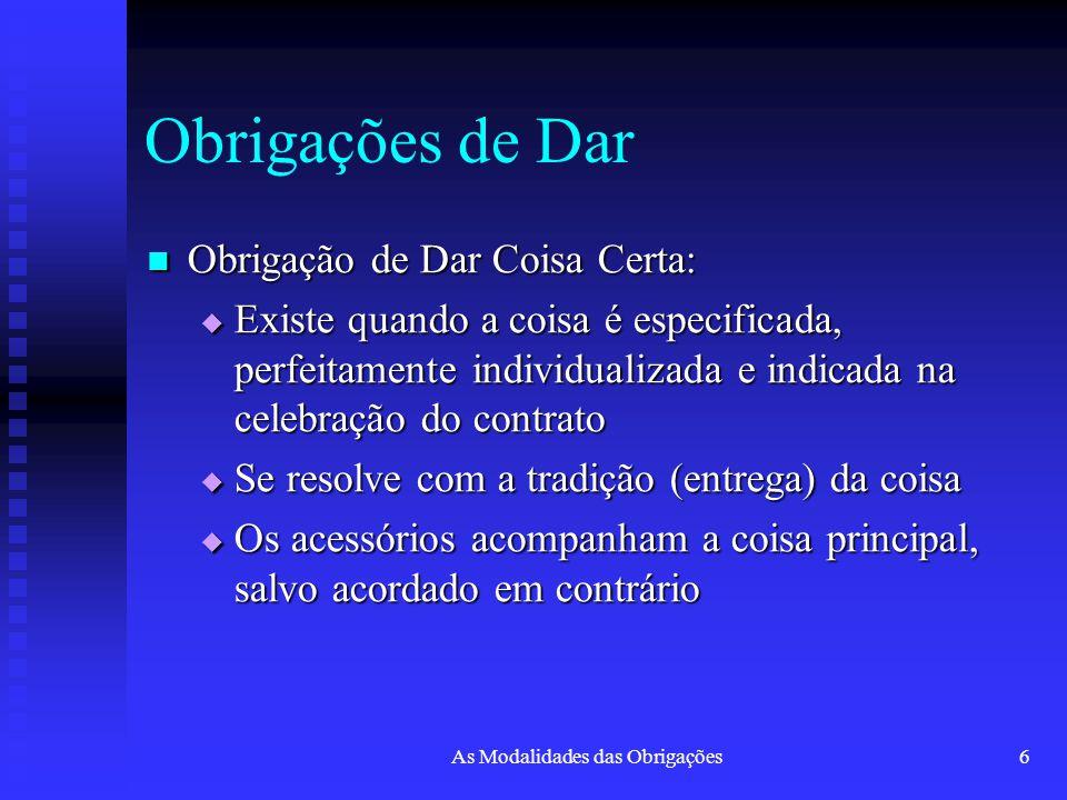 As Modalidades das Obrigações6 Obrigações de Dar Obrigação de Dar Coisa Certa: Obrigação de Dar Coisa Certa:  Existe quando a coisa é especificada, p