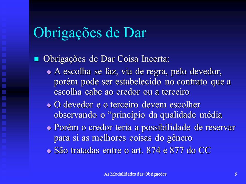 As Modalidades das Obrigações9 Obrigações de Dar Obrigações de Dar Coisa Incerta: Obrigações de Dar Coisa Incerta:  A escolha se faz, via de regra, p