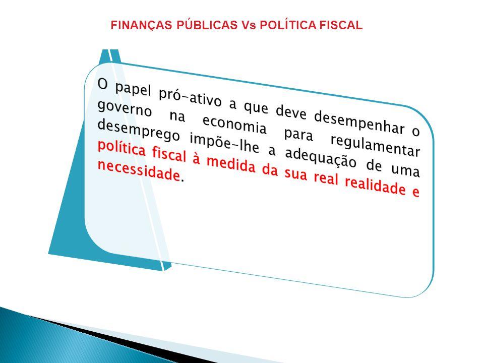 FINANÇAS PÚBLICAS Vs POLÍTICA FISCAL