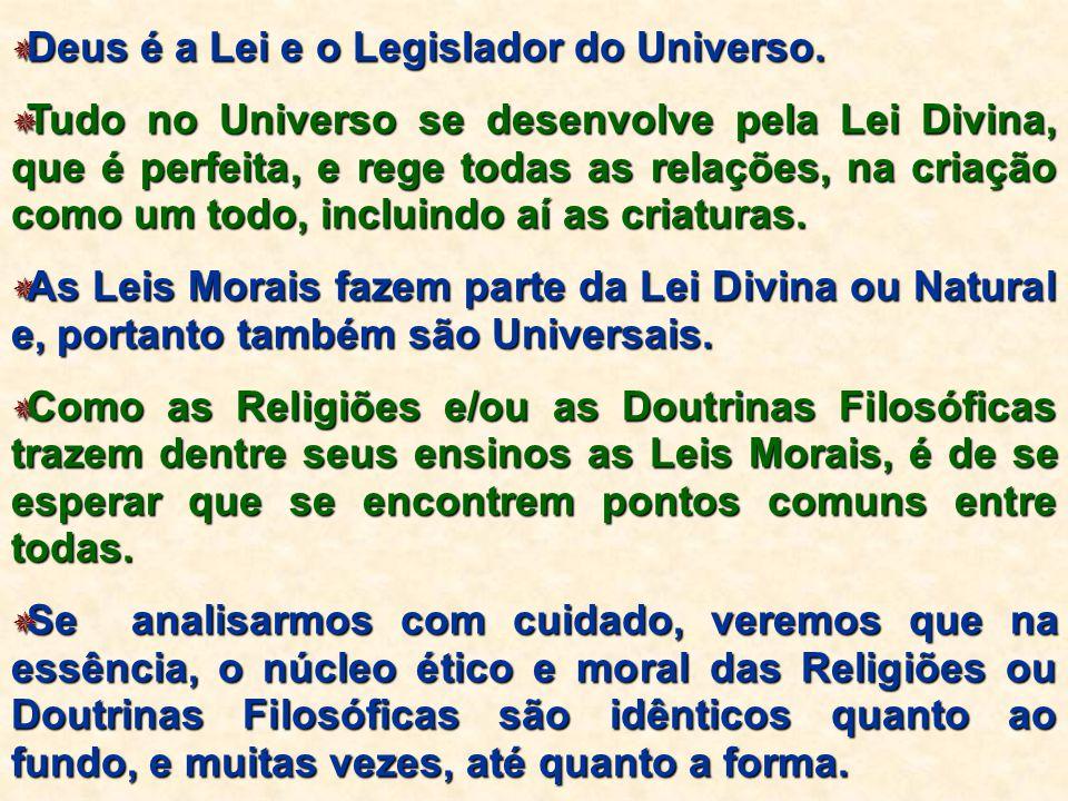  Deus é a Lei e o Legislador do Universo.  Tudo no Universo se desenvolve pela Lei Divina, que é perfeita, e rege todas as relações, na criação como