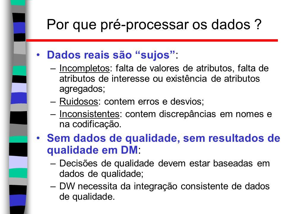 """Por que pré-processar os dados ? Dados reais são """"sujos"""": –Incompletos: falta de valores de atributos, falta de atributos de interesse ou existência d"""