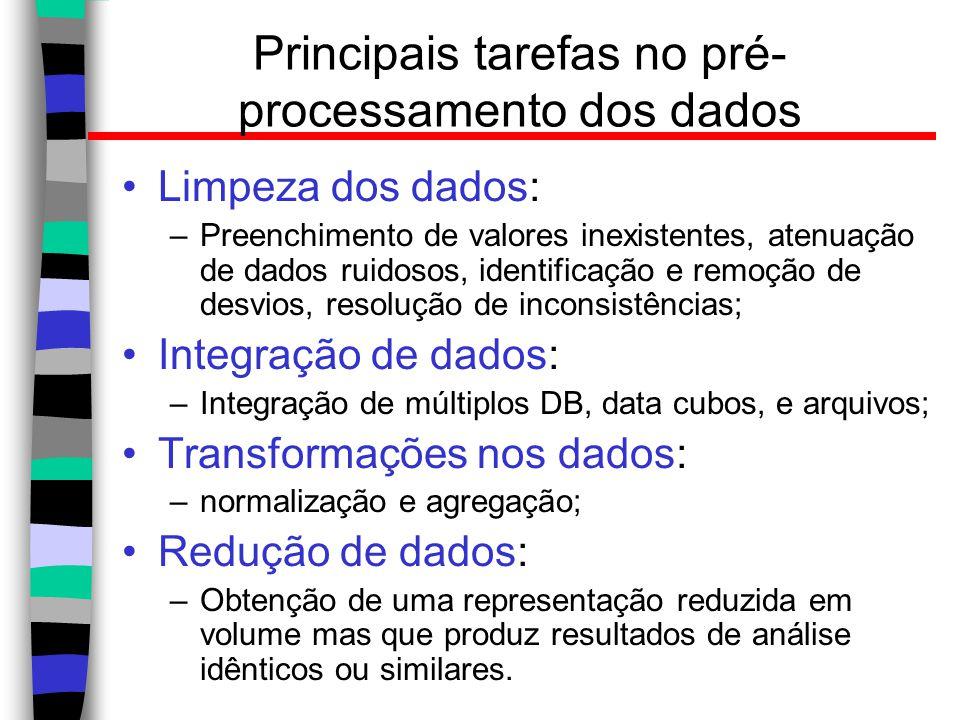 Principais tarefas no pré- processamento dos dados Limpeza dos dados: –Preenchimento de valores inexistentes, atenuação de dados ruidosos, identificaç
