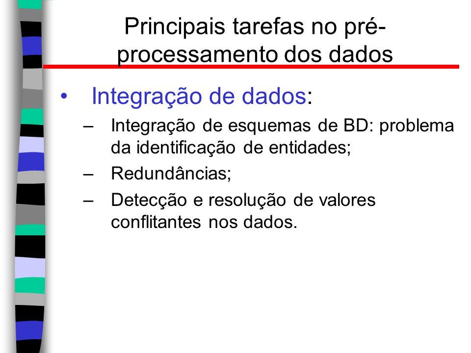 Principais tarefas no pré- processamento dos dados Integração de dados: –Integração de esquemas de BD: problema da identificação de entidades; –Redund