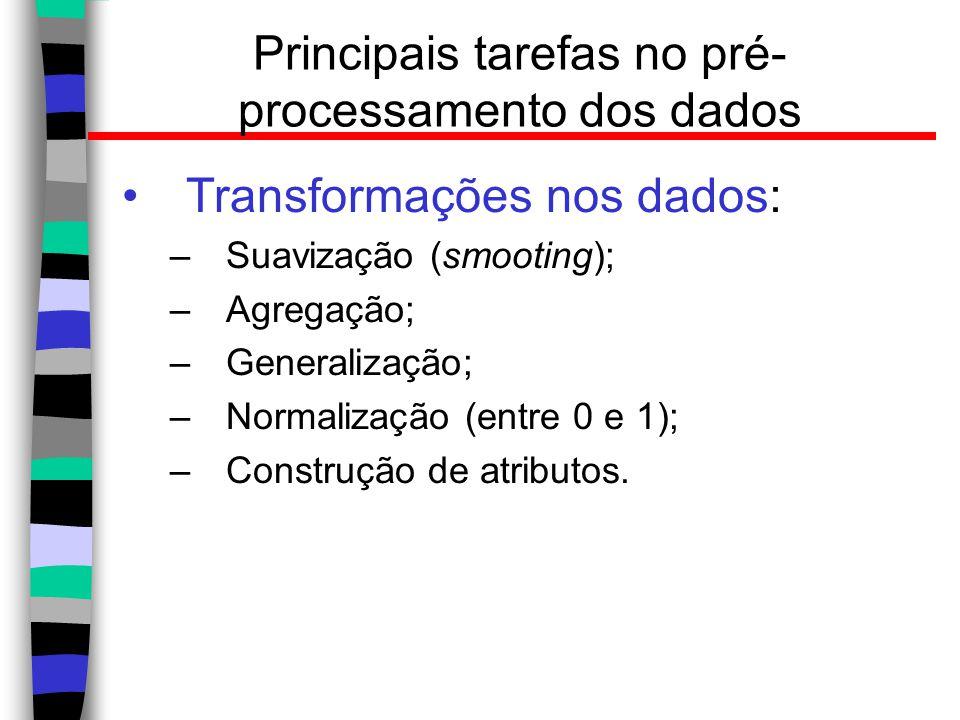 Principais tarefas no pré- processamento dos dados Transformações nos dados: –Suavização (smooting); –Agregação; –Generalização; –Normalização (entre