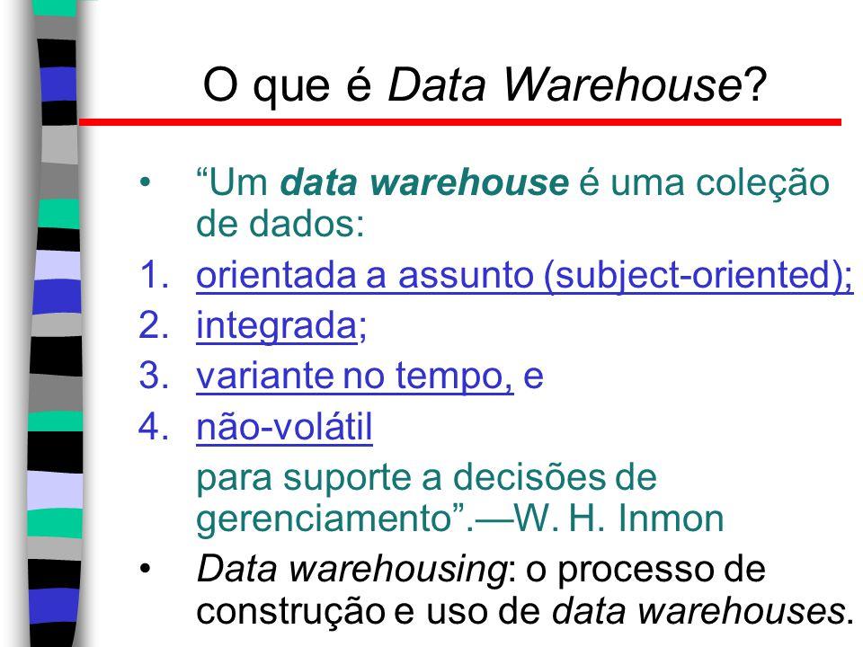 """O que é Data Warehouse? """"Um data warehouse é uma coleção de dados: 1.orientada a assunto (subject-oriented); 2.integrada; 3.variante no tempo, e 4.não"""