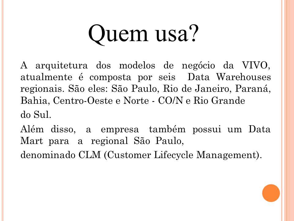 A arquitetura dos modelos de negócio da VIVO, atualmente é composta por seis Data Warehouses regionais. São eles: São Paulo, Rio de Janeiro, Paraná, B