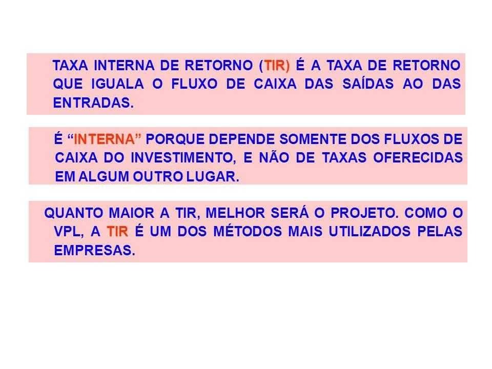 """TAXA INTERNA DE RETORNO (TIR) É A TAXA DE RETORNO QUE IGUALA O FLUXO DE CAIXA DAS SAÍDAS AO DAS ENTRADAS. É """"INTERNA"""" PORQUE DEPENDE SOMENTE DOS FLUXO"""