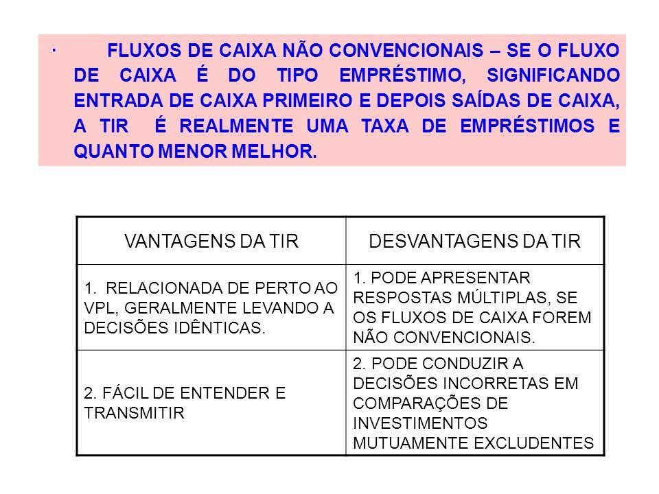 · FLUXOS DE CAIXA NÃO CONVENCIONAIS – SE O FLUXO DE CAIXA É DO TIPO EMPRÉSTIMO, SIGNIFICANDO ENTRADA DE CAIXA PRIMEIRO E DEPOIS SAÍDAS DE CAIXA, A TIR