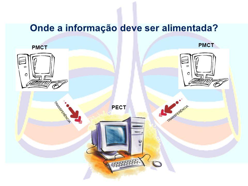 Onde a informação deve ser alimentada? PMCT PECT PMCT TRANSFERÊNCIA