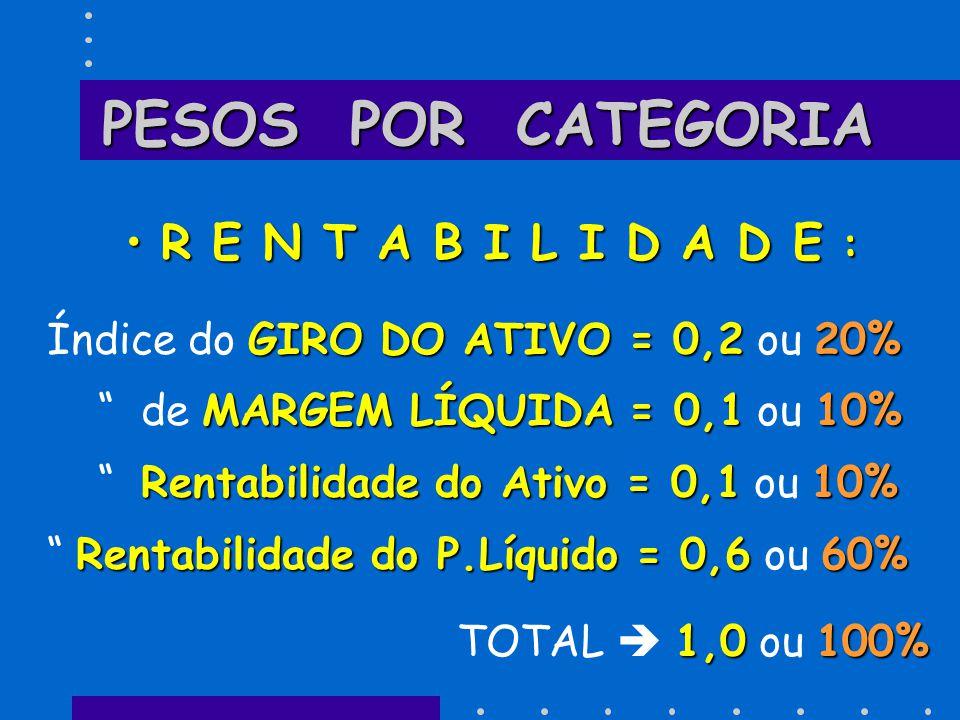 PESOS POR CATEGORIA R E N T A B I L I D A D E :R E N T A B I L I D A D E : GIRO DO ATIVO = 0,220% Índice do GIRO DO ATIVO = 0,2 ou 20% MARGEM LÍQUIDA