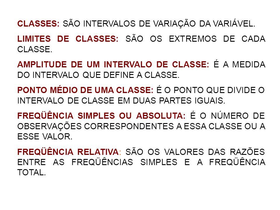 CLASSES: SÃO INTERVALOS DE VARIAÇÃO DA VARIÁVEL. LIMITES DE CLASSES: SÃO OS EXTREMOS DE CADA CLASSE. AMPLITUDE DE UM INTERVALO DE CLASSE: É A MEDIDA D