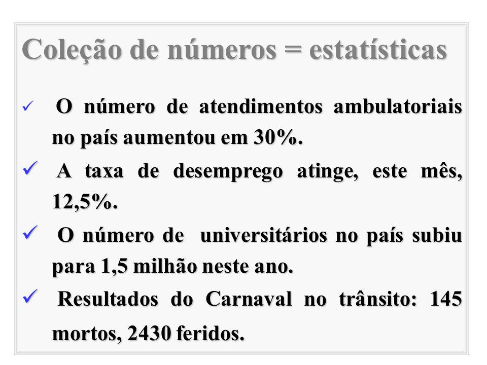 Coleção de números = estatísticas O número de atendimentos ambulatoriais no país aumentou em 30%. A taxa de desemprego atinge, este mês, 12,5%. A taxa