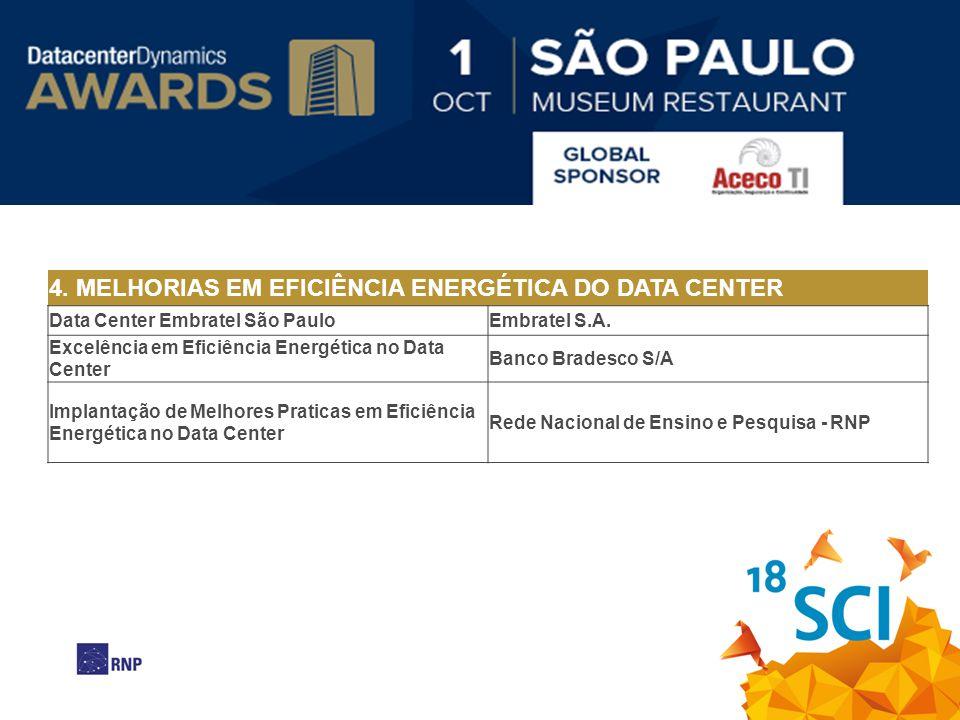 4. MELHORIAS EM EFICIÊNCIA ENERGÉTICA DO DATA CENTER Data Center Embratel São Paulo Embratel S.A. Excelência em Eficiência Energética no Data Center B