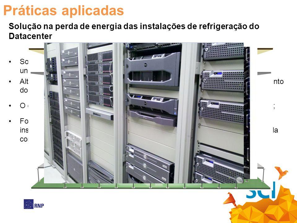 Práticas aplicadas Solução na perda de energia das instalações de refrigeração do Datacenter Solução no efeito do bypass de ar com a gestão do fluxo d