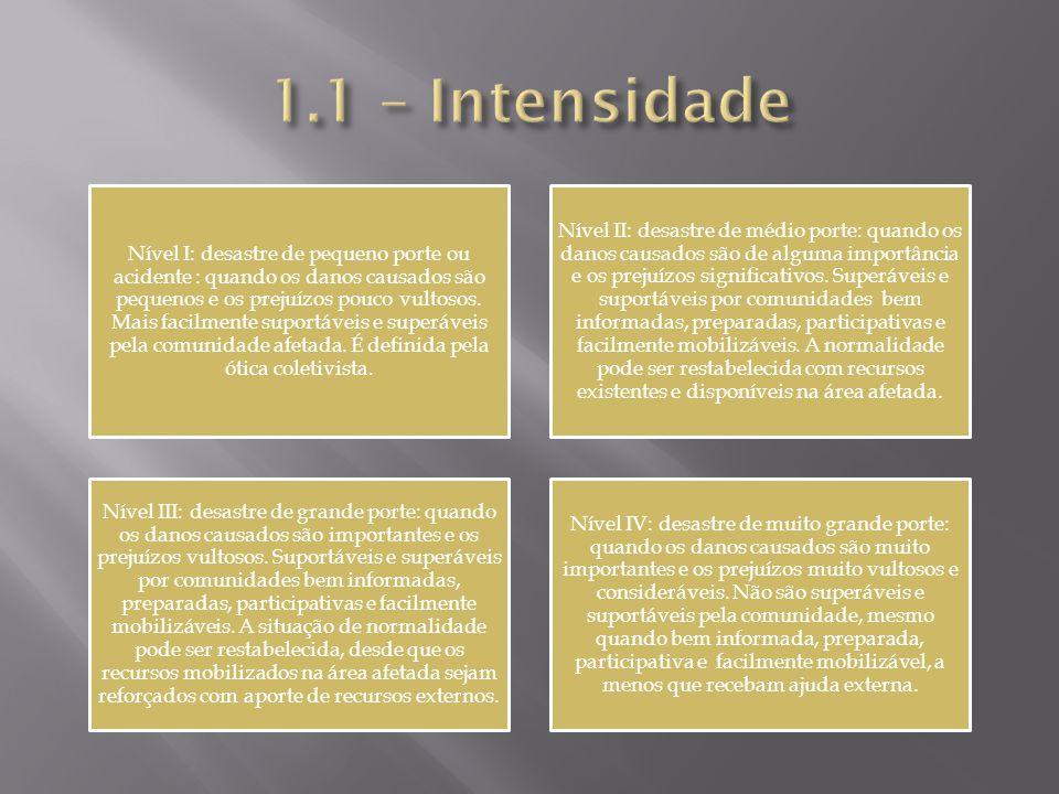 Nível I: desastre de pequeno porte ou acidente : quando os danos causados são pequenos e os prejuízos pouco vultosos.