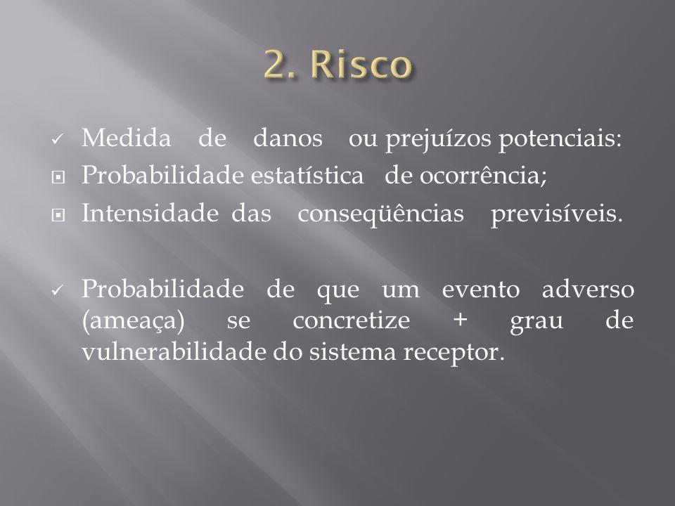 Medida de danos ou prejuízos potenciais:  Probabilidade estatística de ocorrência;  Intensidade das conseqüências previsíveis. Probabilidade de que
