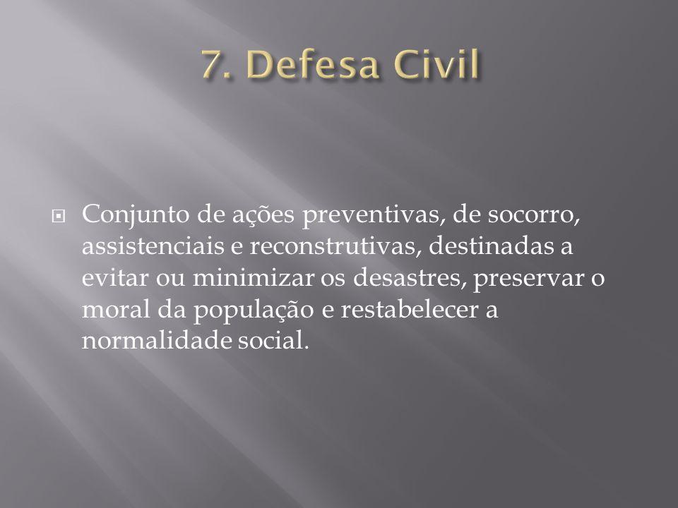  Conjunto de ações preventivas, de socorro, assistenciais e reconstrutivas, destinadas a evitar ou minimizar os desastres, preservar o moral da popul
