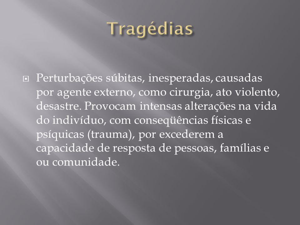  Perturbações súbitas, inesperadas, causadas por agente externo, como cirurgia, ato violento, desastre.