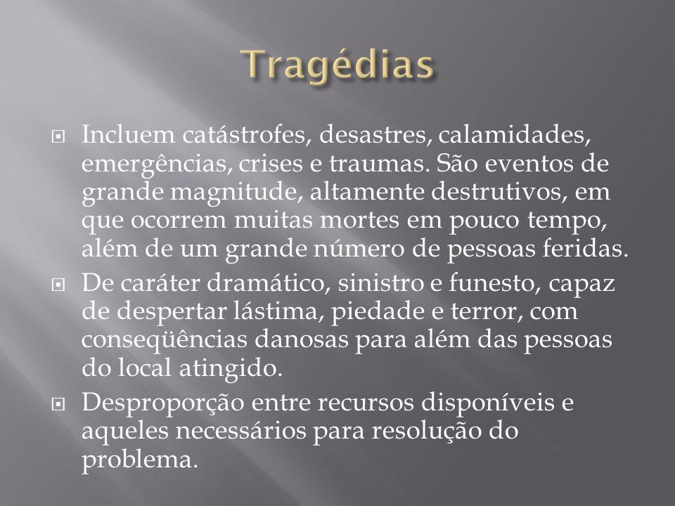  Incluem catástrofes, desastres, calamidades, emergências, crises e traumas. São eventos de grande magnitude, altamente destrutivos, em que ocorrem m